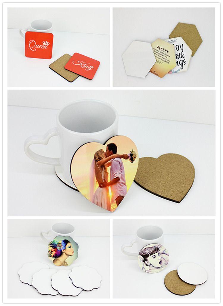 DIY publicité verres en liège en bois MDF Sublimation publicité Coaster blanc promotion cadeau tapis de gobelets isolés semi-finis pour le cadeau A07