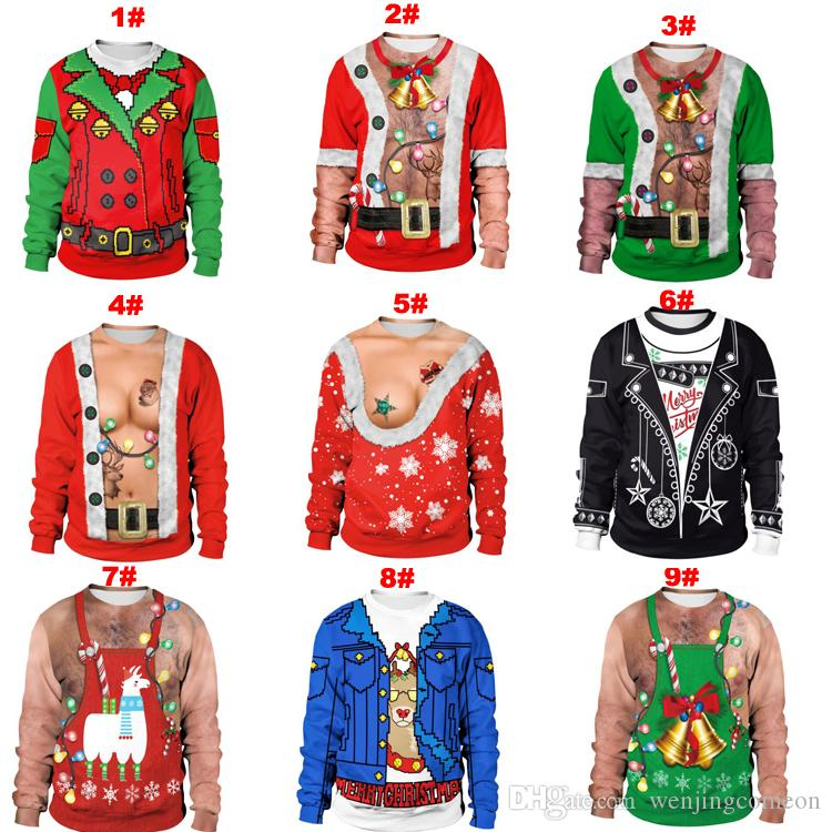 Unisex Men Women Ugly Christmas Sweater For Holidays Santa Elf Christmas 3D Printed Novelty Autumn Winter Sweater
