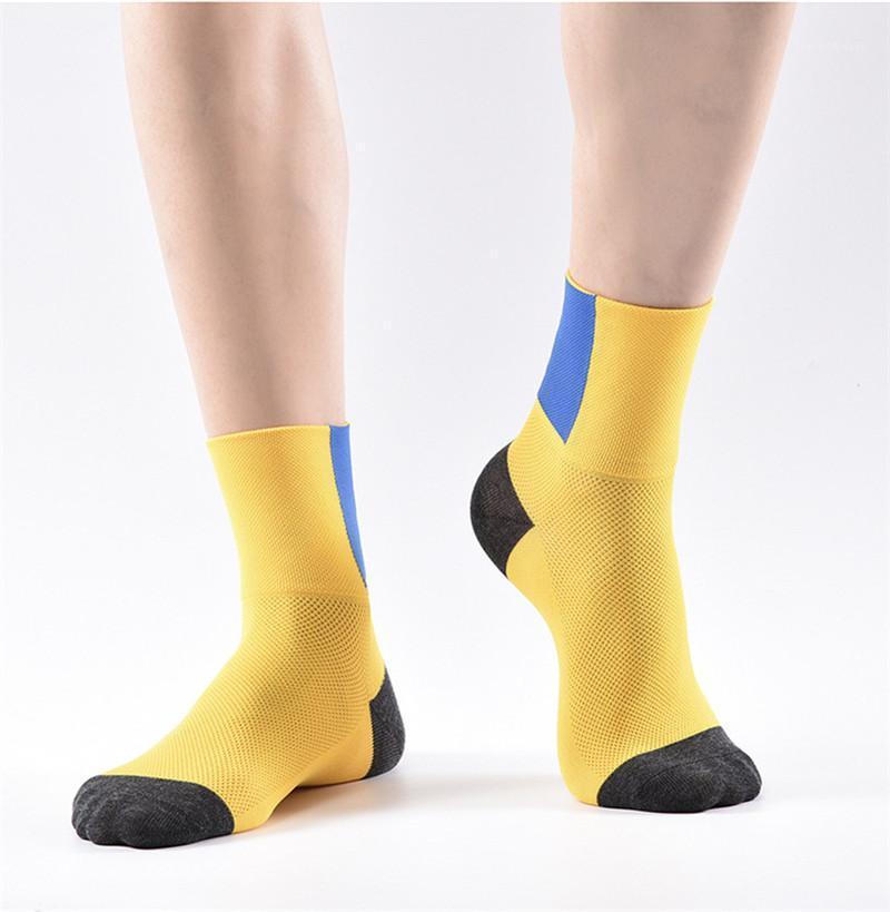 Socken Ineinander greifen atmungsaktiv feuchtigkeitsabsorbierend Biker-Sport-Strümpfe Farben getäfelten Laufen der Frauen Männer Socken Designer Herren