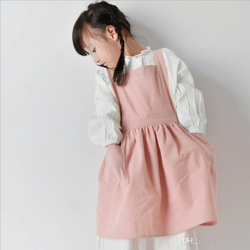 Baumwolle Leinen Kinder Künstler Schürzen mit verstellbarem Gurt und 2 Taschen, Plain Child Chef Schürzen für Jungen und Mädchen in 2 Größen für Klassenzimmer