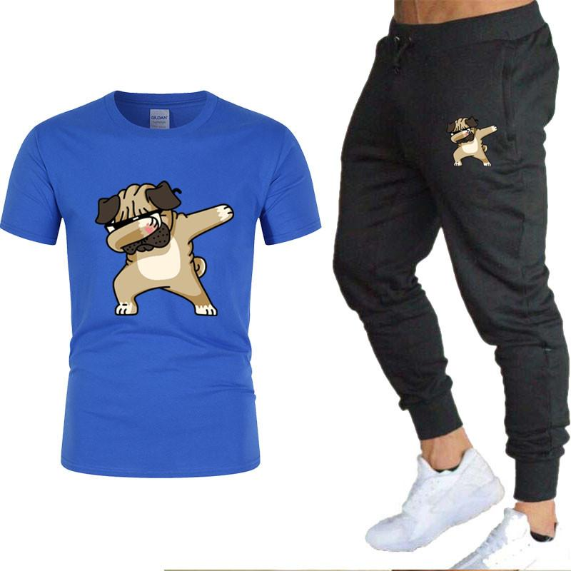 Men's Tracksuits 2021 Fashion Sports Clothing T Shirt Male + Summer Pants Thin Cotton Casual Brand Men T-shirt Set