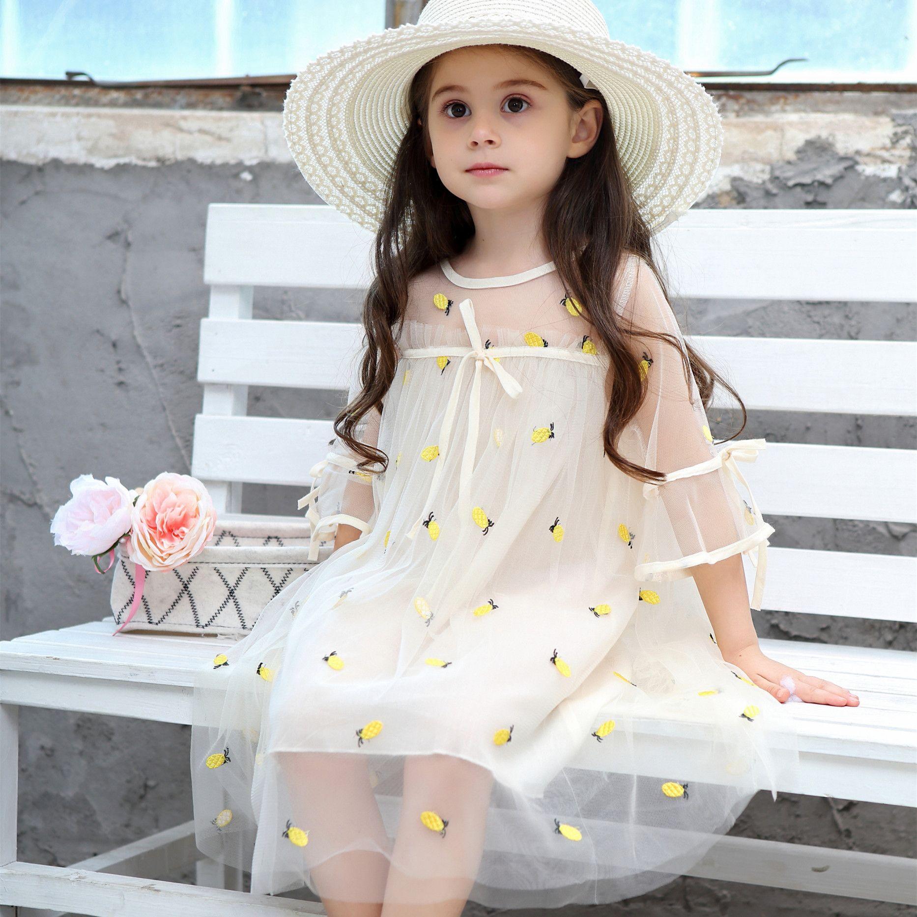 Oklady 2019 Girls Summer Hot Princess Elegante Encaje Piña Fiesta Dulce Cute Kid Girl Vestido de Malla Blanca Para 6t J190614