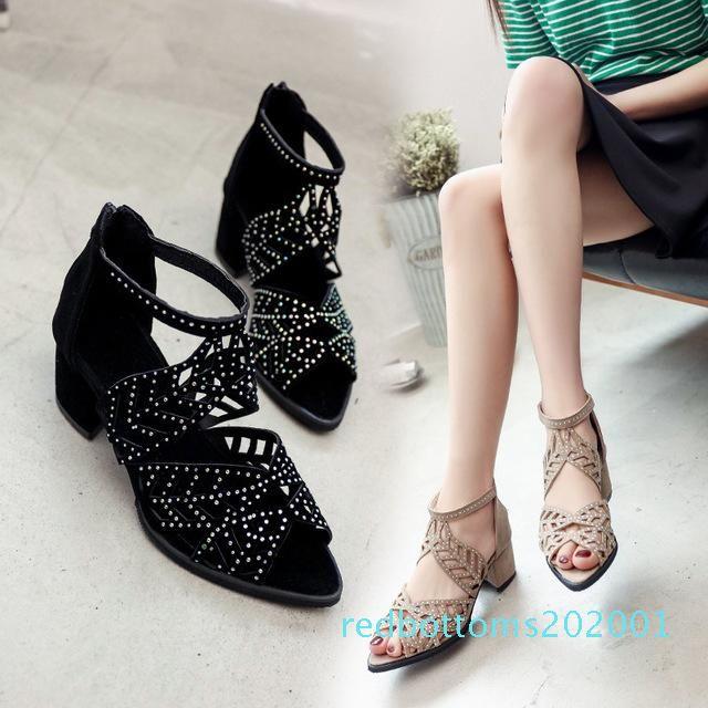 Mode Femmes Chaussures Sandales creux plate Wedge Escarpins Bohême Femme Zapatos Mujer Summer Femme Sandales Plage Taille Plus L-122 R01