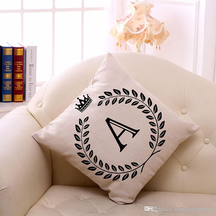 45 * 45cm Lin Home Decor A-Z Lettre Taie un seul côté 26 lettres anglaises Impression Canapé Taie Café Taie d'oreiller BH0884 TQQ