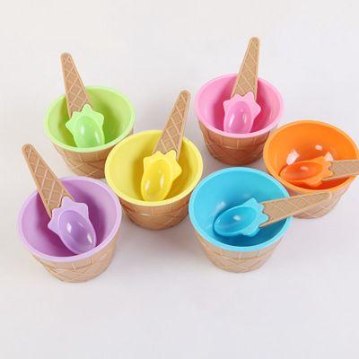 Crianças gelado tigelas de sorvete copo casais conjunto de bacia titular de recipiente de sobremesa com colher melhor crianças suprimentos de presente EEE560