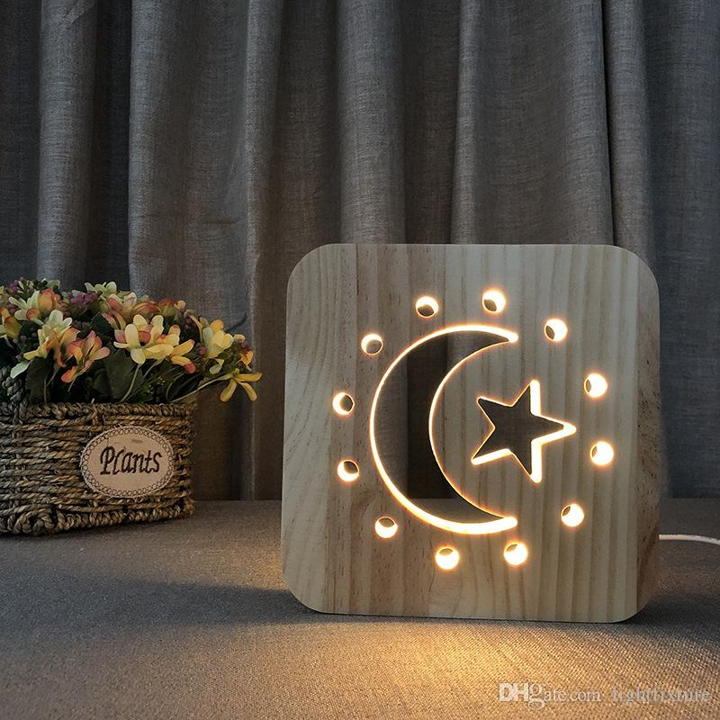 Wooden Moon Stars Lamp Kids Bedroom Decoration Warm Solid Wood LED Night Lamp USB Power Supply Night Lights for Children Gift