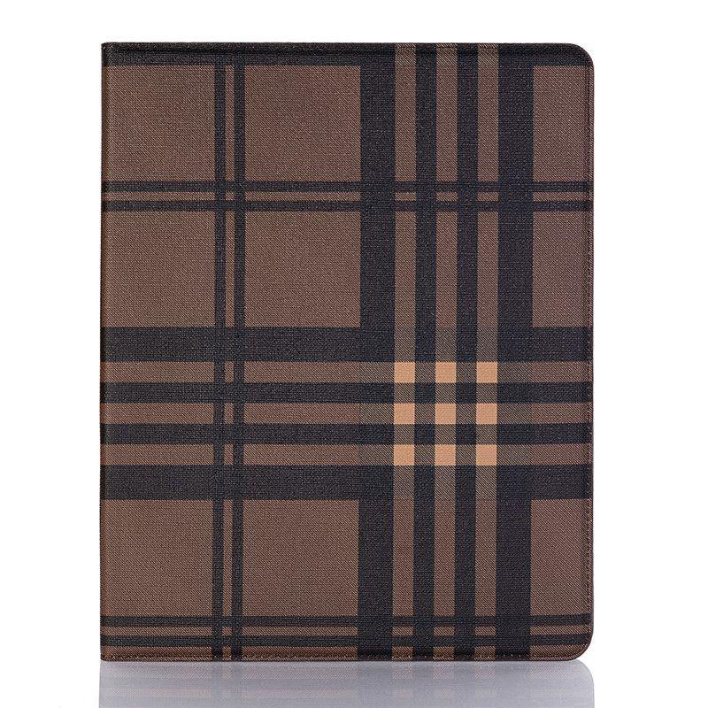 For iPad 9.7 iPad 5/6 Case for iPad 9.7 2018/2017 mini1234 Credit Card Holder Retro Premium Lattice Filp Kickstand Cover Protective Case