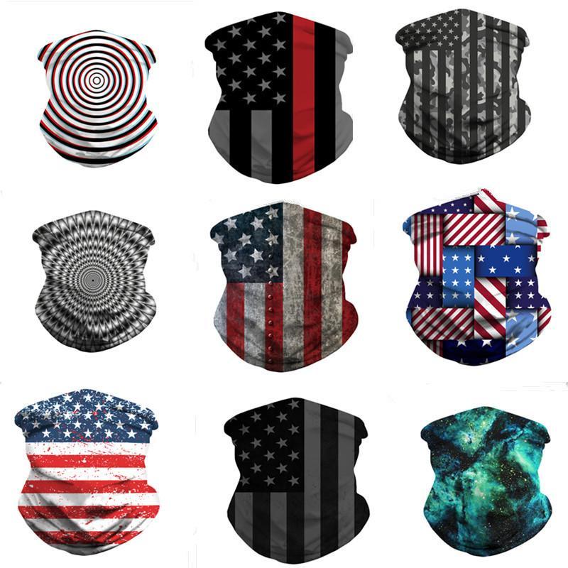 Магия американского флаг шарф 3D печать маска Мужчины Женщина пыл Солнцезащитных шарфы бандан трубной Головные уборы Открытого Велоспорт Маски для лица 2020