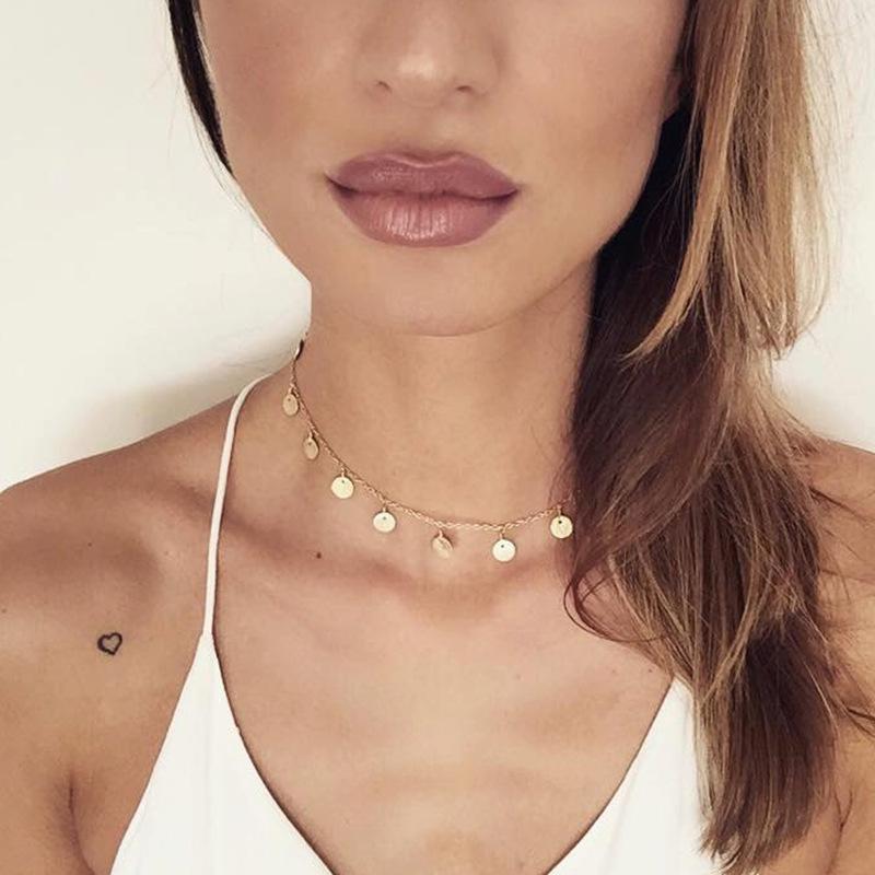 Einfache Boho Münzen Gold-Chockers Halskette Silber Rund für Frauen Münze Halsketten-Anhänger-Halskette Hochzeit Schmuck