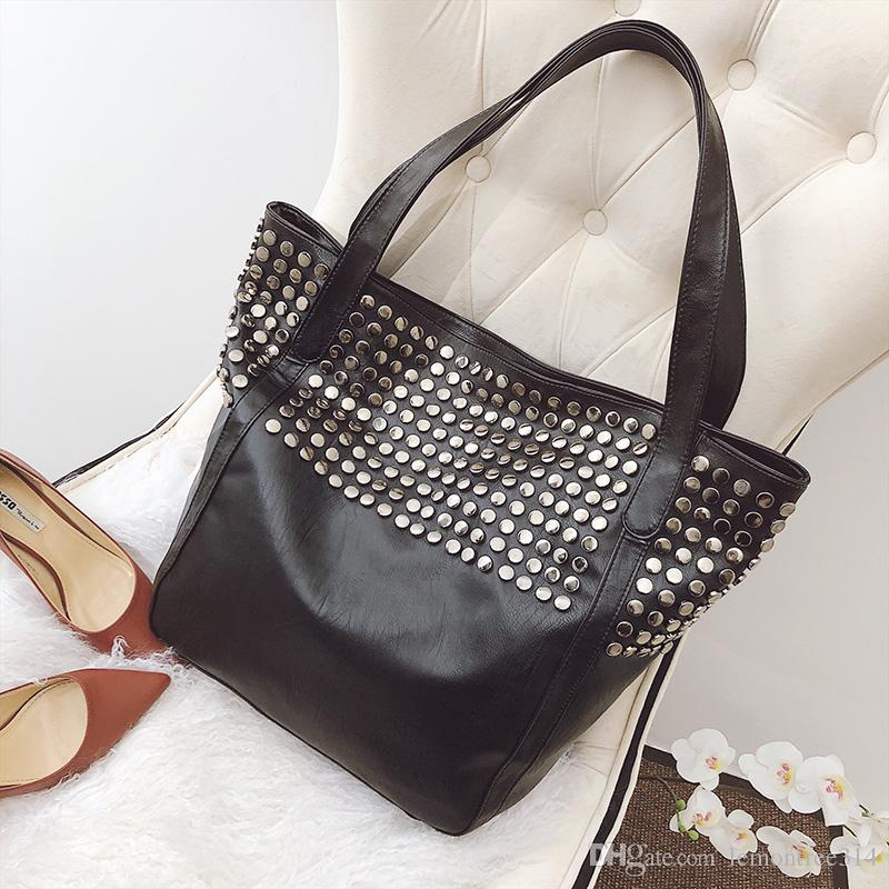 Women Rivet Shoulder Bags Black Handbag High Capacity Casual Leather Motorcycle Bags Travel Fashion Totes Purse JY04