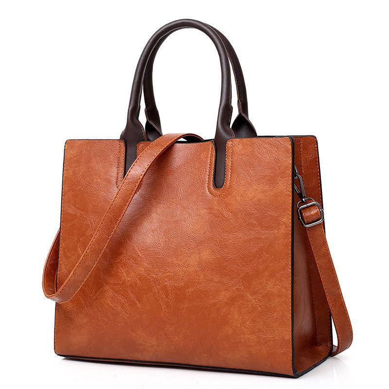 2020 neue einfache Art und Weise quadratische Tasche Schultertasche Messenger Normallack PU weibliche weibliche Handtasche der großen Kapazität Damen