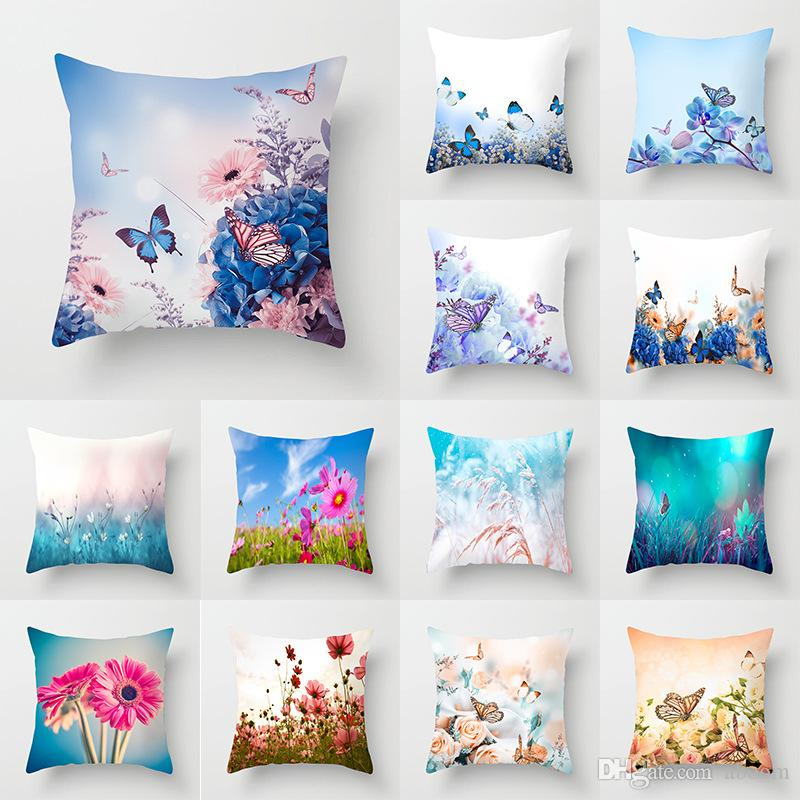 Linen Pillow Home Decoration Cases Pillow 18/'/' Standard Covers Butterfly