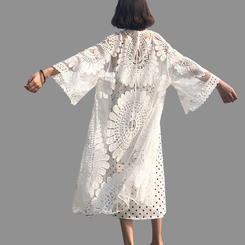 Kimonos Cardigans Women 2019 Summer Lace Embroidery Long Blouses Cardigan Plus Size Kimono L~4XL Holiday Seaside Beach Cover