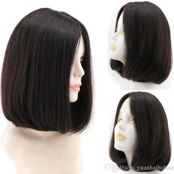 Bob Kosher Pelucas Negro Color Black Pelucas de alta calidad 12A Finest Mongolian Virgin Human Hair Hair Sedky Reight 4x4 Base de seda Peluca judía Envío gratis