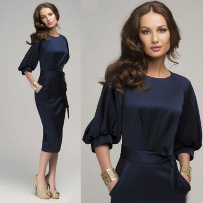 2020 горячая распродажа профессиональных женщин нарядные платья повязки Половина рукава женский повседневный ol бизнес Военно-Морского Флота вечернее платье миди
