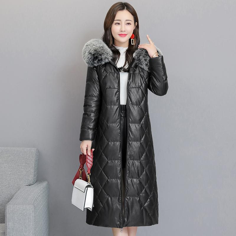Зима Женщины с капюшоном кожаная куртка съемный меховой воротник Черный Теплый Толстые Длинные пальто Плюс размер 5XL Женщины вниз кожаная куртка