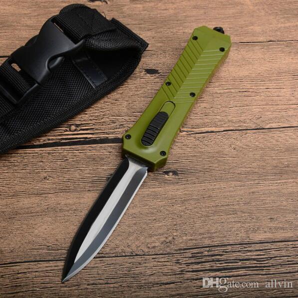 Coltello tattico automatico della maniglia verde di alta qualità 440C lama doppia del bordo dei coltelli di salvataggio di sopravvivenza all'aperto con la borsa di nylon