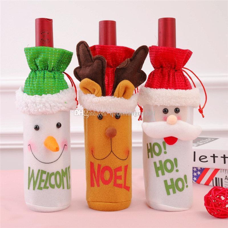 Christmas Wine Bottle Cover Santa Claus Snowman Reindeer Cover Case Bags Festive Merry Christmas Decoration Home Decor Drop Ship