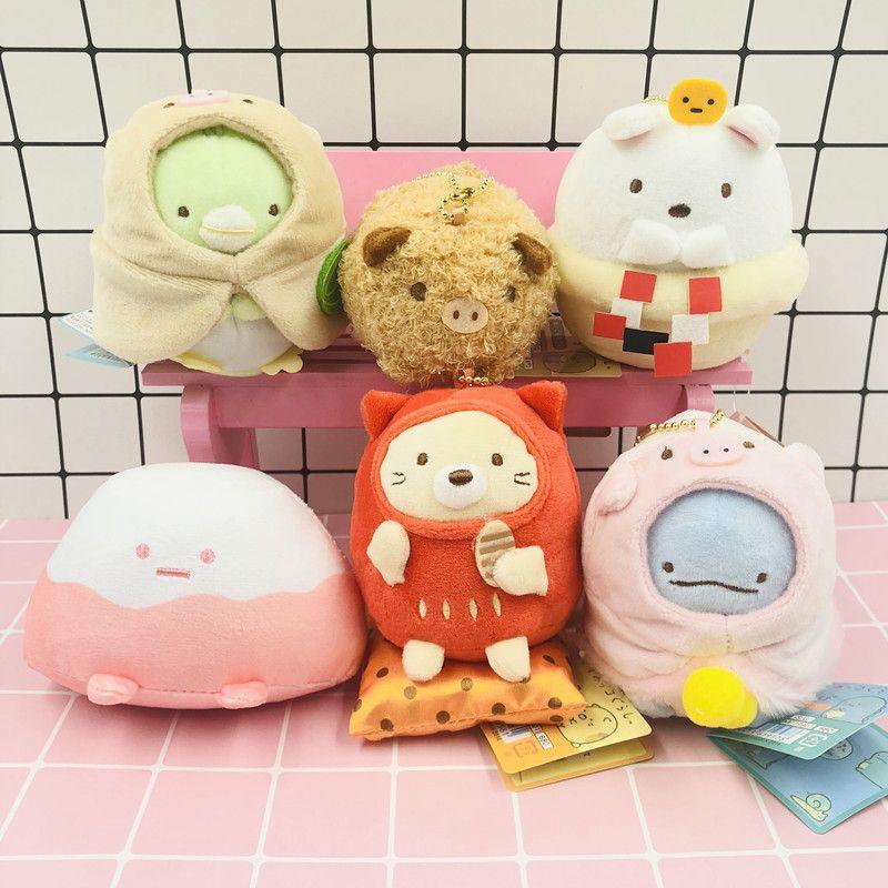 6pcs / 세트 Kawaii San-X Sumikko 구라시 코너 돼지의 해마다 일본 애니메이션 봉제 장난감 펜던트 박제 동물 인형 소녀 선물