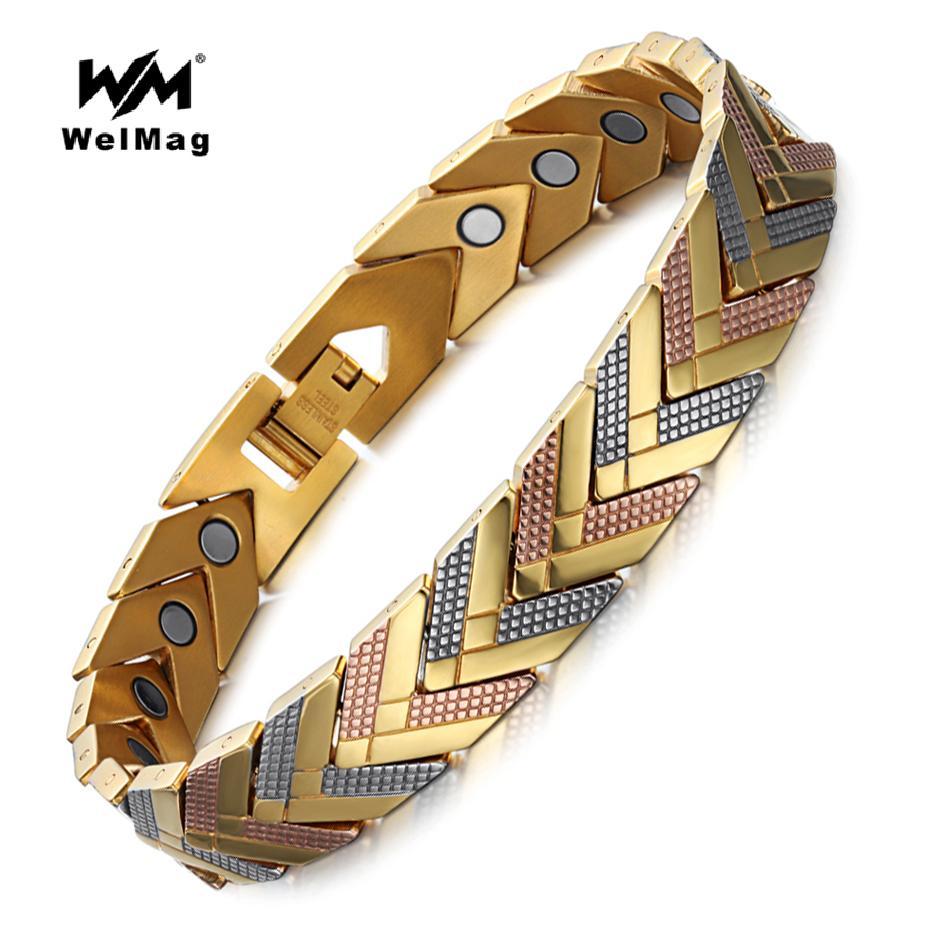 Welmag Stainless Steel Health Magnetic Bracelet Bangle For Women Bio Energy Bracelet 2019 Hot Sale Fashion Jewelry Wristband Y19051101