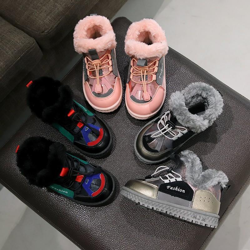 أطفال التجزئة مصمم أحذية الثلوج الفتيات الأحذية المحشوة بالقطن الشتاء ترف زائد سميكة التمهيد المخملية أحذية الأطفال كبيرة طفلة الصبي الأحذية