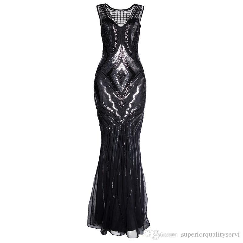 Elegante da festa Celebrity Dress Verão Maxi Outono Vestidos sem mangas O Neck Brilhante lantejoulas Mulheres longo vestido