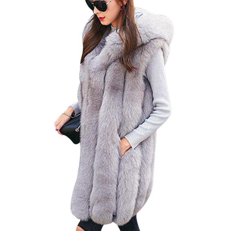 Novo Design Quente Faux Fur Vest Casaco Mulheres Vest Inverno Grosso Com Capuz Rosa Longo Outerwear Elegante Senhoras Casacos Plus Size S-3XL