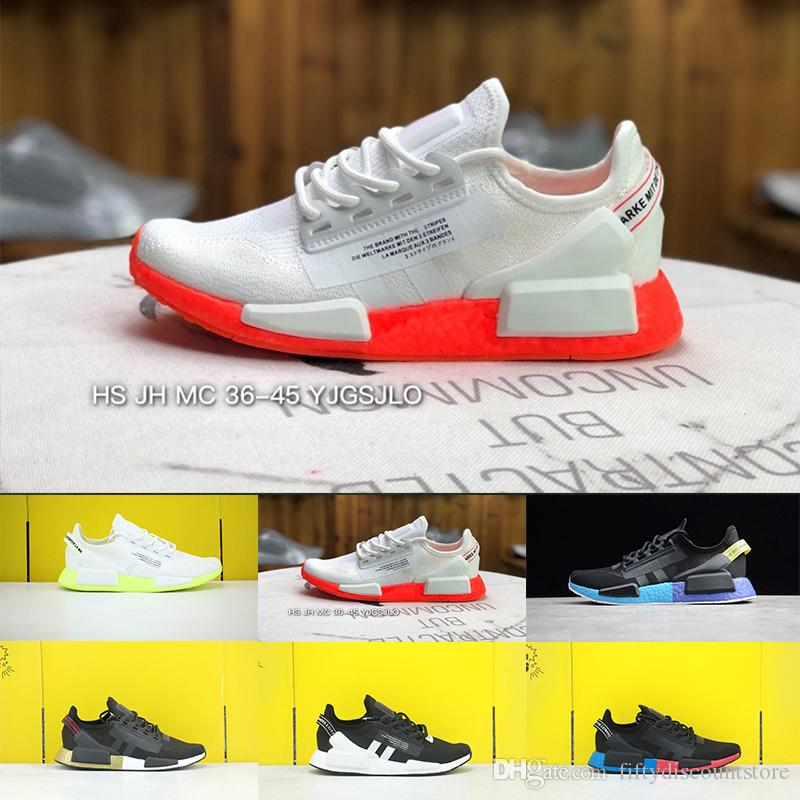 2020 Nmd R1 V2 Men Women Running Shoes Og Core Black White Gold Outdoor Mens Trainers Sports Sneakers Size 36 45