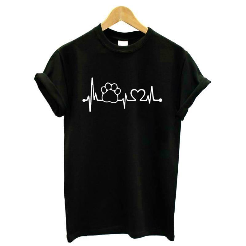 Crazy2019 Ropa de mujer Camisa de la pata para mujer Top Heartbeat Tshirt Dog Cat Camisa de las mujeres Halajuku Mangas de vida T Casual para divertido corto T DUCV