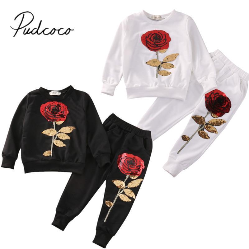 Estrenar niño infantil para niños 2pcs de las Lentejuelas Rose Trajes Ropa camiseta de los pantalones largos Conjunto chándal informal Conjunto 2-7Y