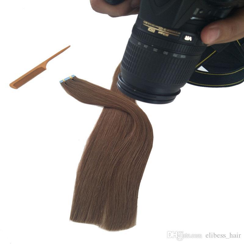 Top-Qualität Tape-in Haarverlängerungen 16 ~ 24 Zoll 100% brasilianische Menschenhaar-Verlängerung 2.5g / piece 60pcs / set Freies Verschiffen