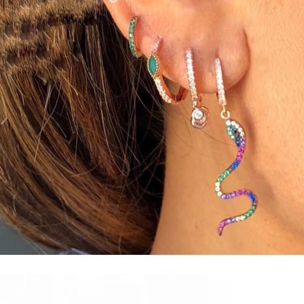 rainbow cz dangle earring snake charm cute animal fashion women jewelry rose silver prateado colorido CZ women jewelry