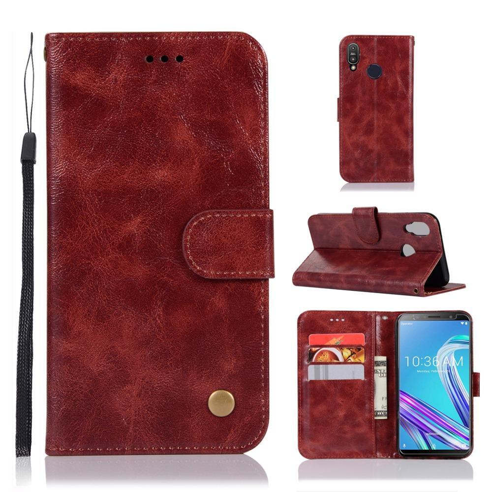 Flip-Wallet-Buch-Telefonkasten Leder PU + TPU Abdeckung an für Asus ZenFone Max Pro M1 M 1 ZB601KL ZB602KL Globale Version 4/6 32/64 GB
