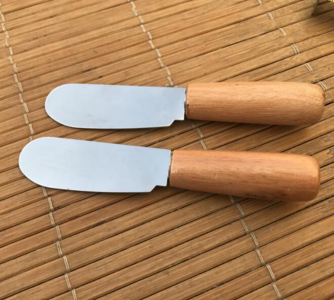 الجبن سكين الفولاذ المقاوم للصدأ سكين الزبدة مع مقبض خشبي أداة البسط الخشب زبدة الجبن الحلوى جام الموزعة الإفطار أداة GGA2604