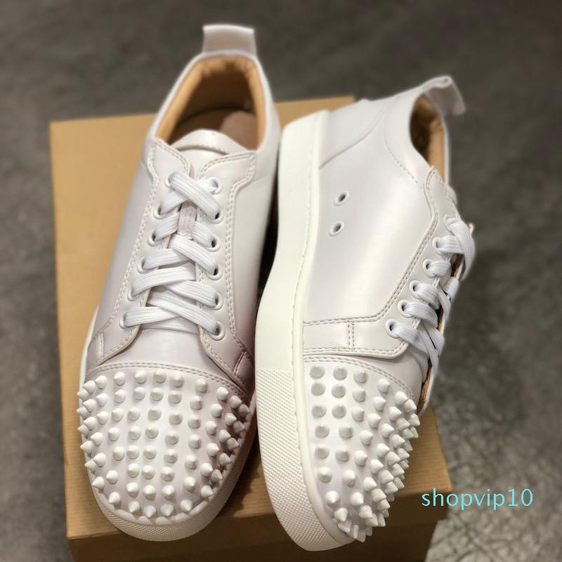 júnior inferior melhores sapatos vermelha do desenhador Studded Spikes Sneakers homens formadores de couro reais sapatos de festa US 5-12,5 L02