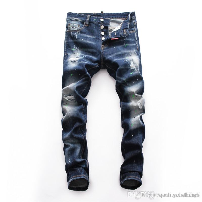 pantalones vaqueros de diseño para hombre de la marca del motorista Pantalones Hi-Calle Slim Fit pintado Denim Joggers male lujo plisado pantalones vaqueros flacos de la moda