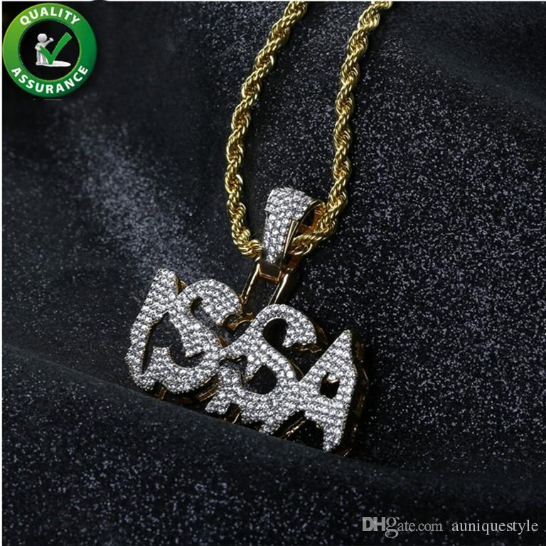 Hip Hop Jewelry Iced Out ISSA Pendant Mens Designer Necklace Micro Pave Cubic Zircon Gold Rope Chain Pendant Rapper Bling Luxury Accessories