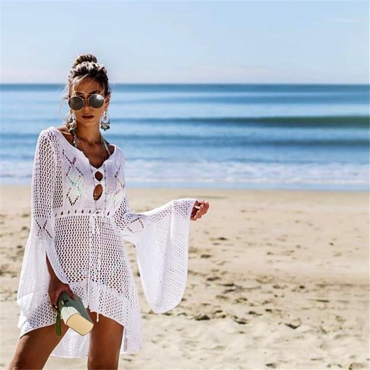 Выдалбливают дизайнер праздничное платье Vestidoes женщины пляж прикрытия платье плащ вязаный