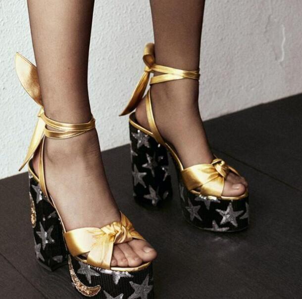 Sandalias de mujer de moda Zapatos de verano de plataforma alta Chunky Tacones altos Bombas Peep Toe Tobillo Strappy Lace Up Señoras Zapatos de vestir de fiesta