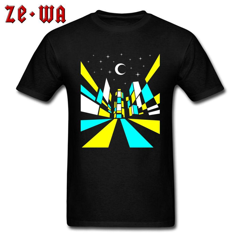 Street T Shirt 남성 Tshirt Guys 뉴욕 야간 티셔츠 최고 품질의 남성 면화 의류 힙합 Streetwear Black Funky Tees