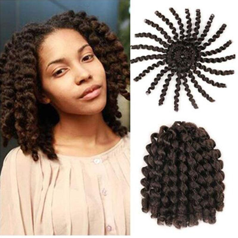 Fashion 8 Inch Short Jumpy Wand Curl Crochet Braids Hair 1Packs Synthetic Hair Extensions For Women 20strands/pack Xtrend Hair (4#,)