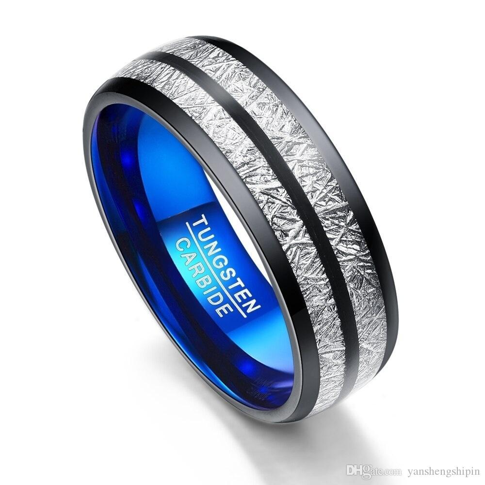 Kadınlar İçin Erkekler 8 MM Mavi Alt İmitasyon Aerolite Paslanmaz Çelik Çift Yüzük Nefis Tungsten karbür Düğün Band Moda Takı