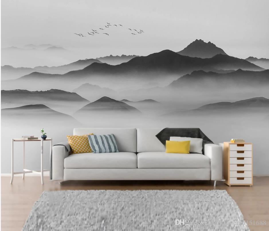 fond d'écran moderne pour le salon Résumé oiseau paysage noir et blanc tv mur de fond de sable