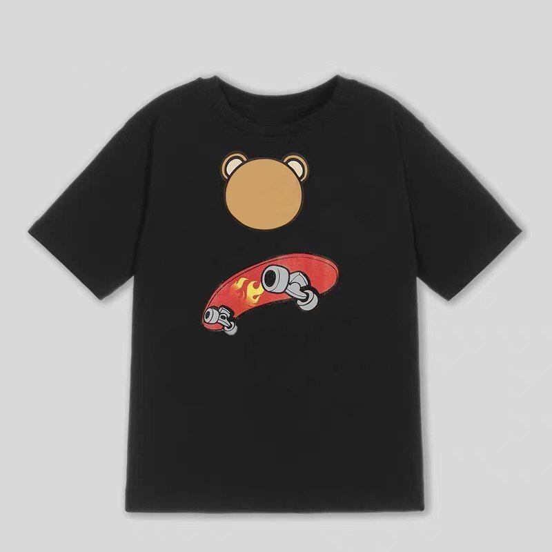 Kinder-Mode-T-Shirts Jungen-Mädchen-Druck-T-Shirts mit Bär Kindern mit Rundhalsausschnitt Sommer-Breathable Tees Tops Kind beiläufige Kurzschluss-Hülsen-T-Shirts