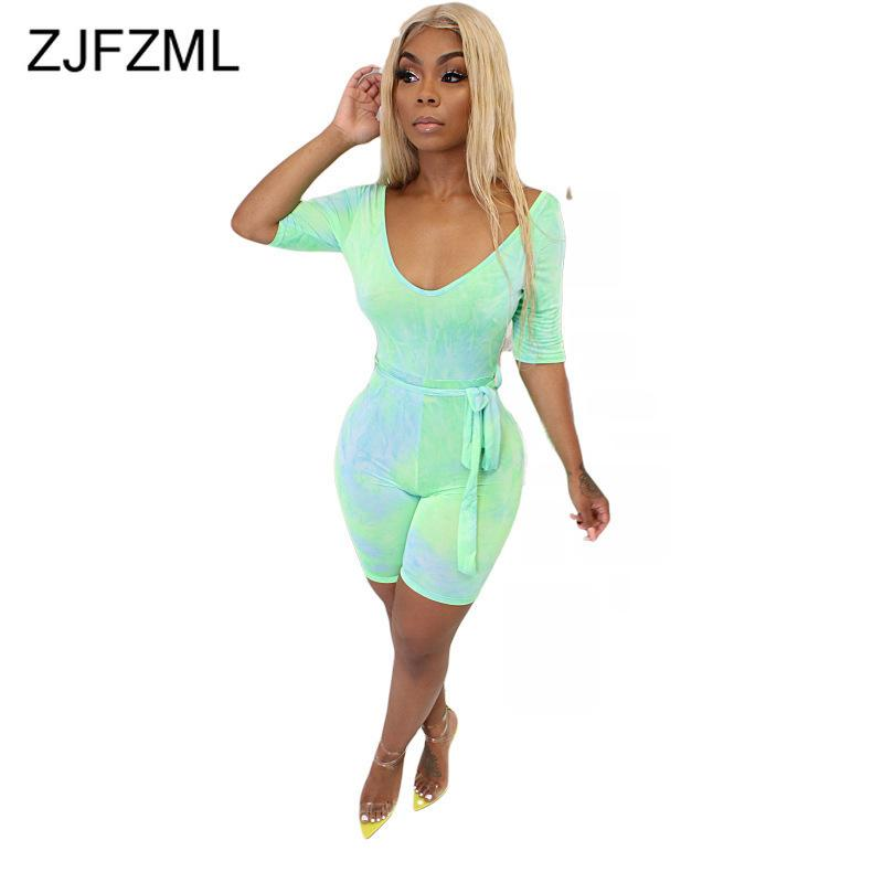 Neon Green Sexy Bodycon Overalls For Women Deep V Neck Half Sleeve Skiny Short Playsuit Summer Empire Sashes One Piece Bodysuit Y19071801