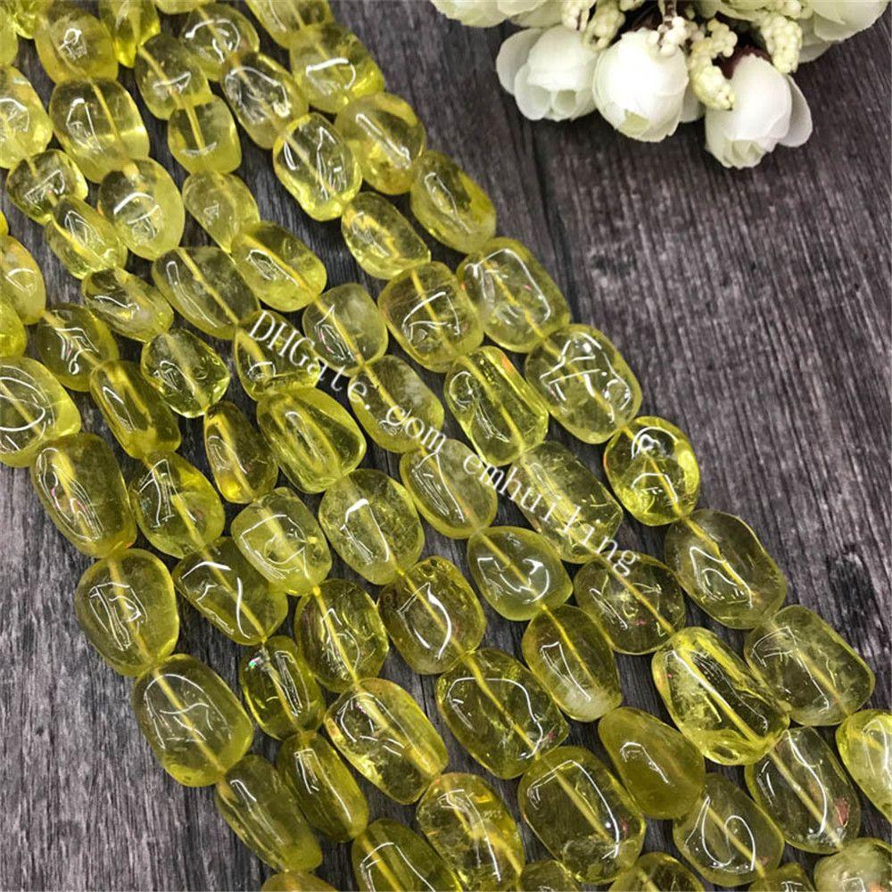 10 Strands Smooth Lemon Quartz Nuggets Polished Tumbled Freeform Natural Olive Quartz Nuggets Loose Gemstone Charms Beads 13x18mm,15x20mm