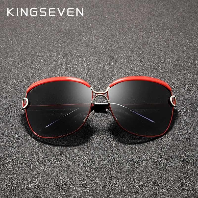 KINGSEVEN 2020 Women's Glasses Sunglasses Gradient Polarized Lens Round Sun glasses Butterfly Oculos Feminino