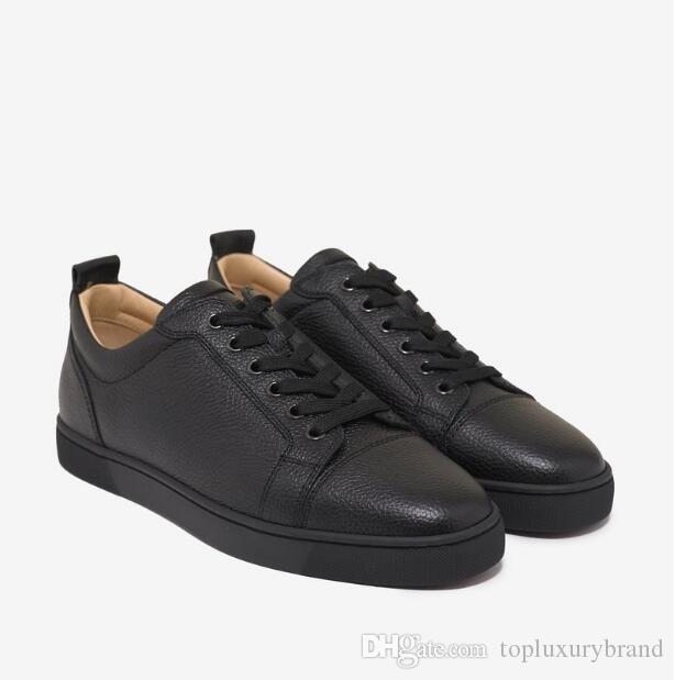 Alta Qualidade Luxo Casual Sapatos Alto-Top Homens Mulheres Sapato Vermelho Bottom Sneaker Júnior Liso Preto Green Treinadores Preto / Branco Treinador