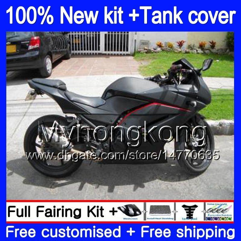 + Tank für KAWASAKI ZX250R EX250 08 09 2010 2011 2012 201MY.135 EX 250 ZX 250R EX250 ZX250R EX250R 2008 2009 10 11 12 Verkleidungs Mattschwarz
