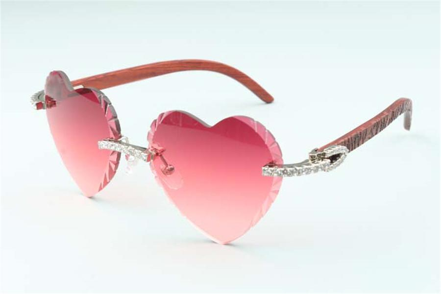 Direct sales new heart shaped cutting lens endless diamonds sunglasses 8300687, tiger pattern natural wooden temples size: 58-18-135 mm
